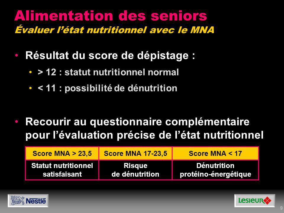Alimentation des seniors Évaluer l'état nutritionnel avec le MNA
