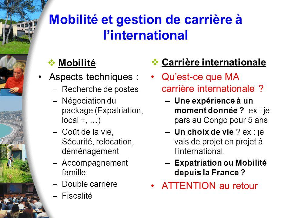 Mobilité et gestion de carrière à l'international