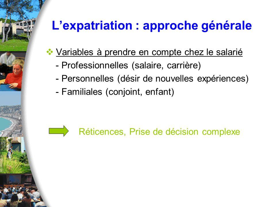 L'expatriation : approche générale