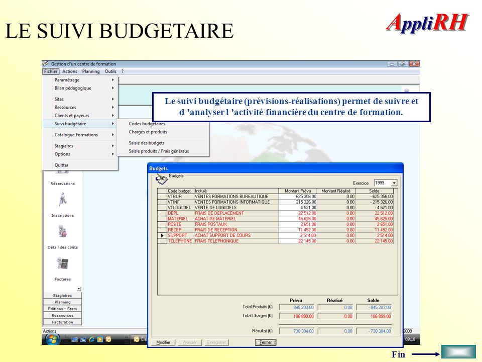 LE SUIVI BUDGETAIRE Le suivi budgétaire (prévisions-réalisations) permet de suivre et d 'analyser l 'activité financière du centre de formation.