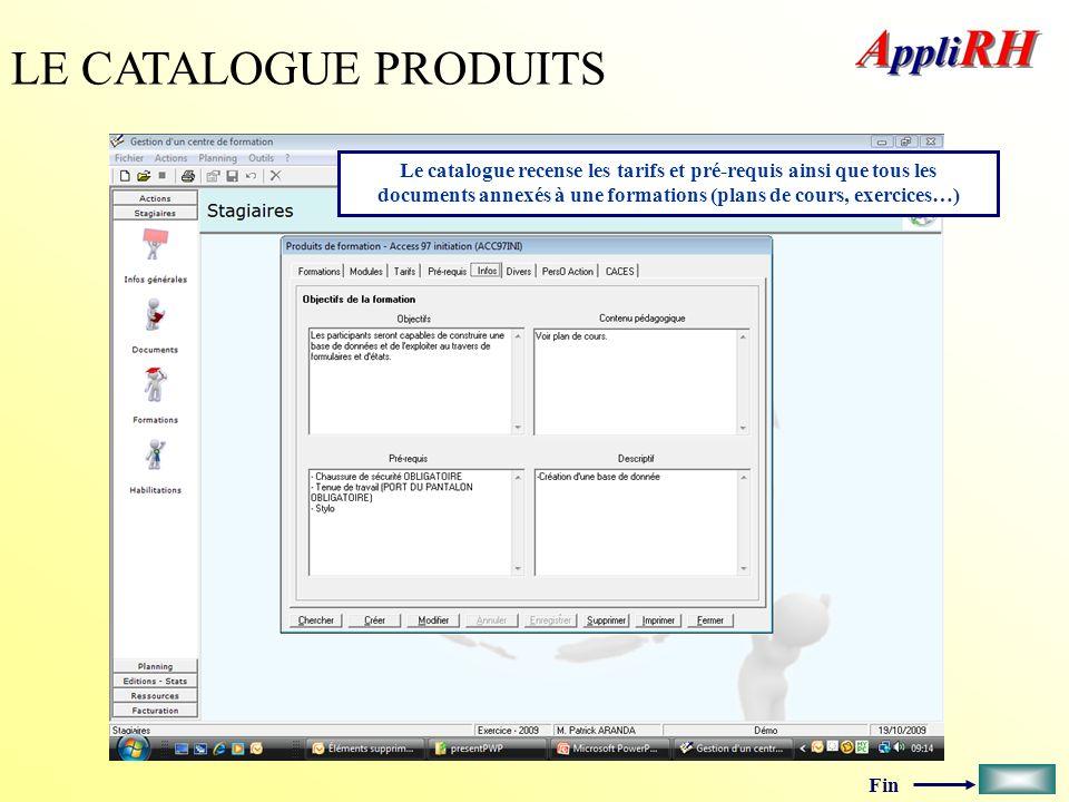 LE CATALOGUE PRODUITS