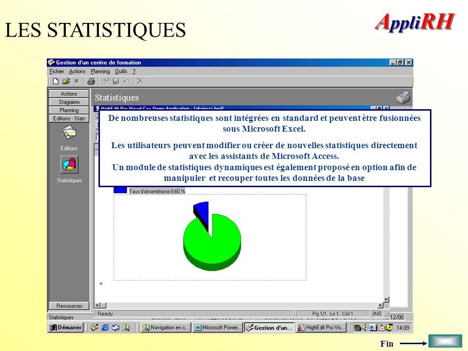 LES STATISTIQUES De nombreuses statistiques sont intégrées en standard et peuvent être fusionnées sous Microsoft Excel.