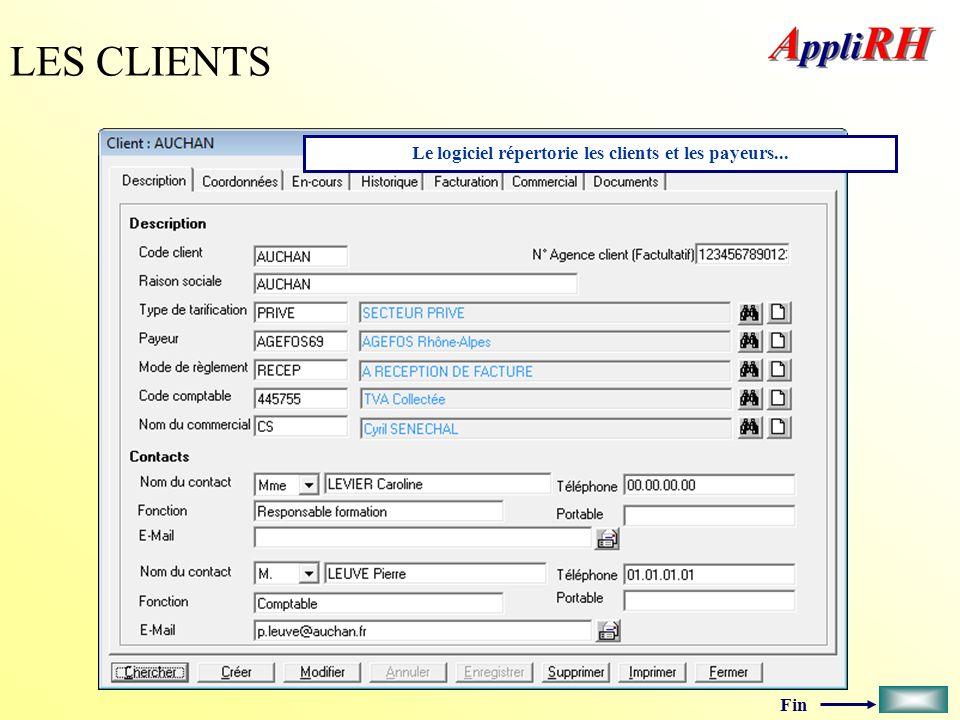 Le logiciel répertorie les clients et les payeurs...