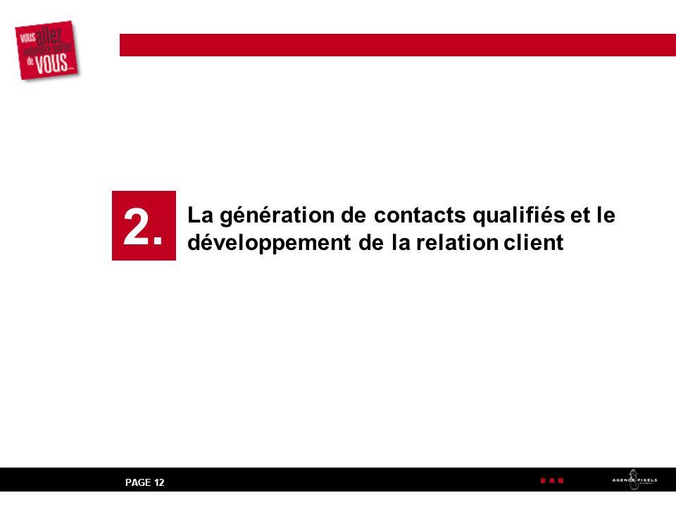 2. La génération de contacts qualifiés et le développement de la relation client PAGE 12