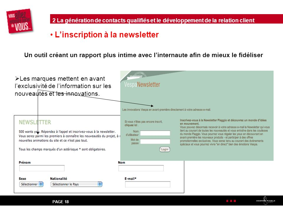 L'inscription à la newsletter