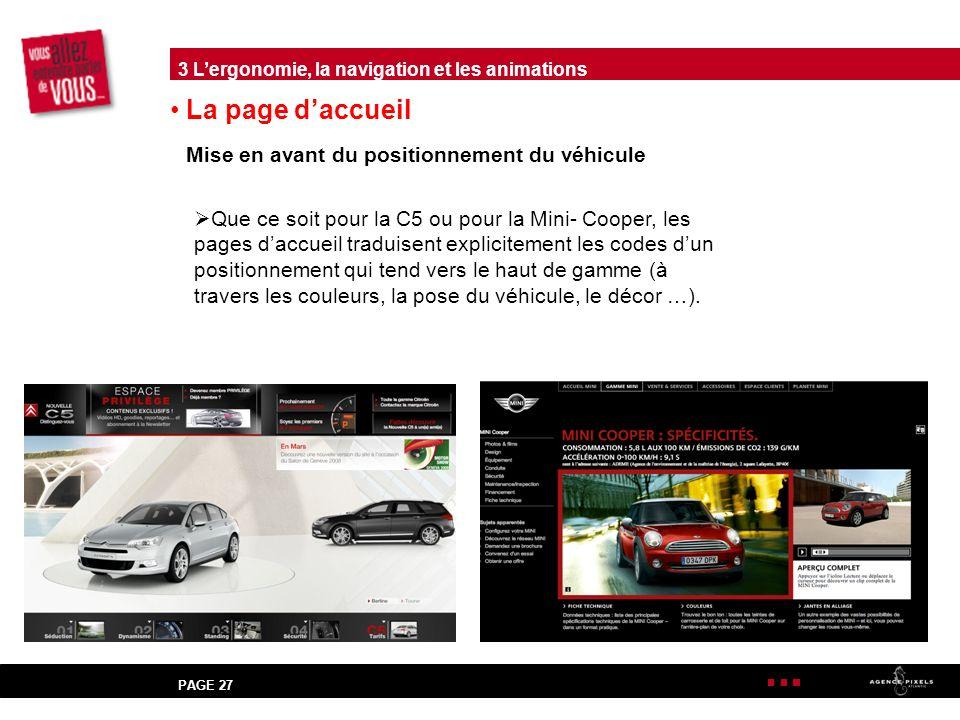 La page d'accueil Mise en avant du positionnement du véhicule