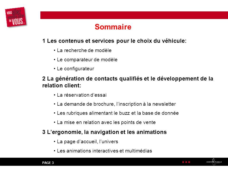 Sommaire 1 Les contenus et services pour le choix du véhicule: