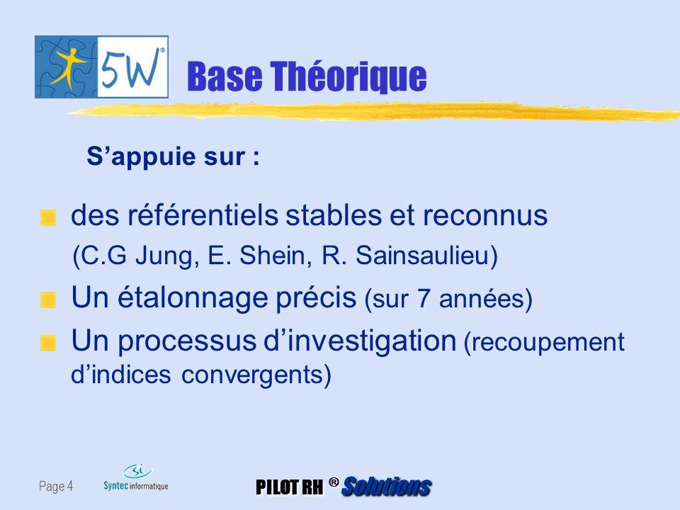 Base Théorique des référentiels stables et reconnus