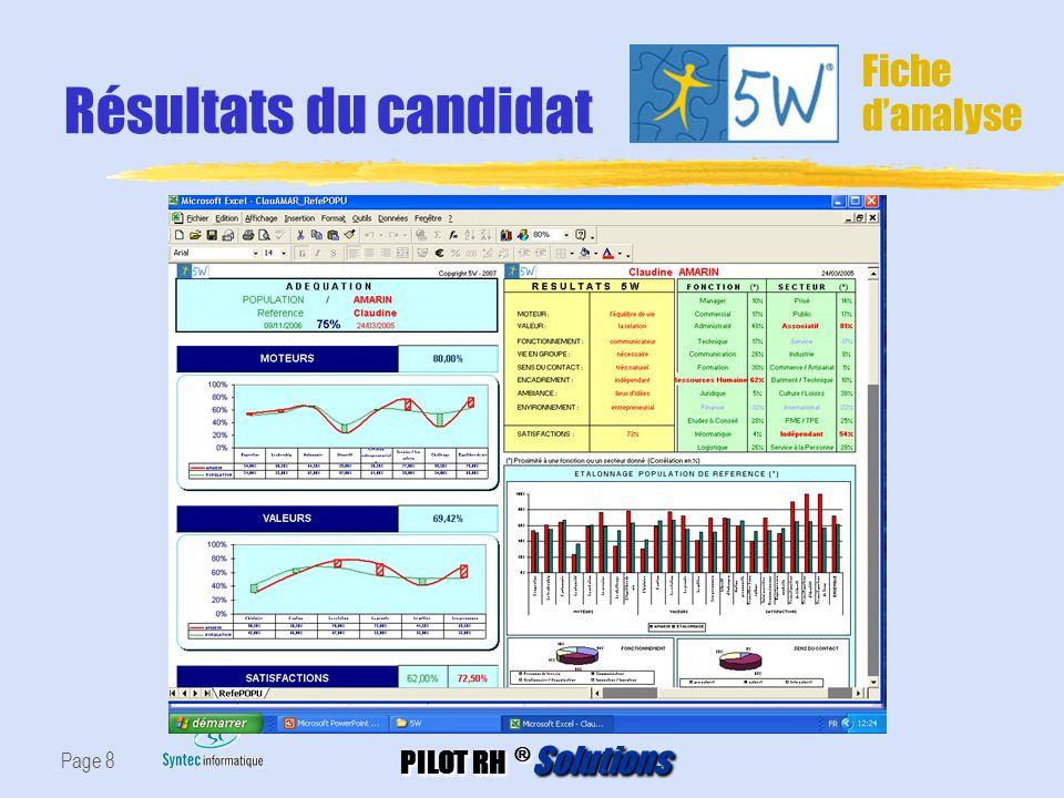Résultats du candidat Fiche d'analyse Page 8
