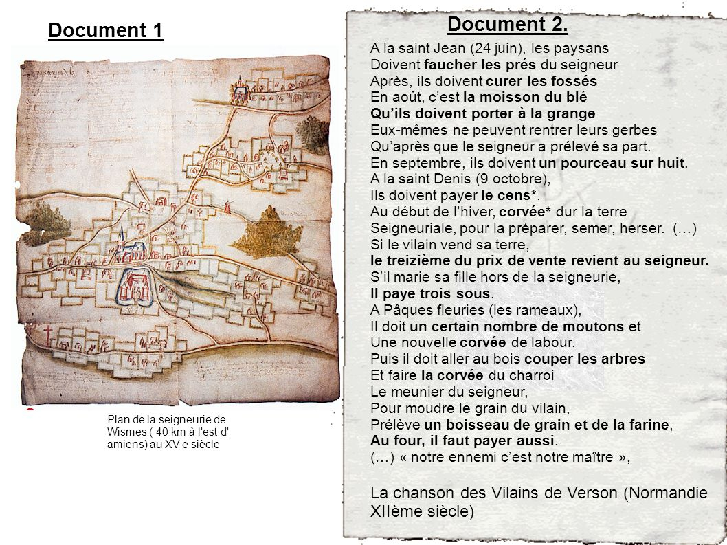Document 2. Document 1. A la saint Jean (24 juin), les paysans. Doivent faucher les prés du seigneur.