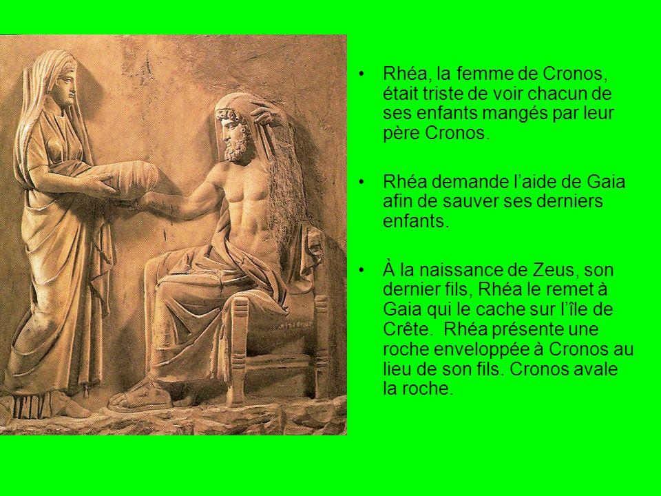 Rhéa, la femme de Cronos, était triste de voir chacun de ses enfants mangés par leur père Cronos.