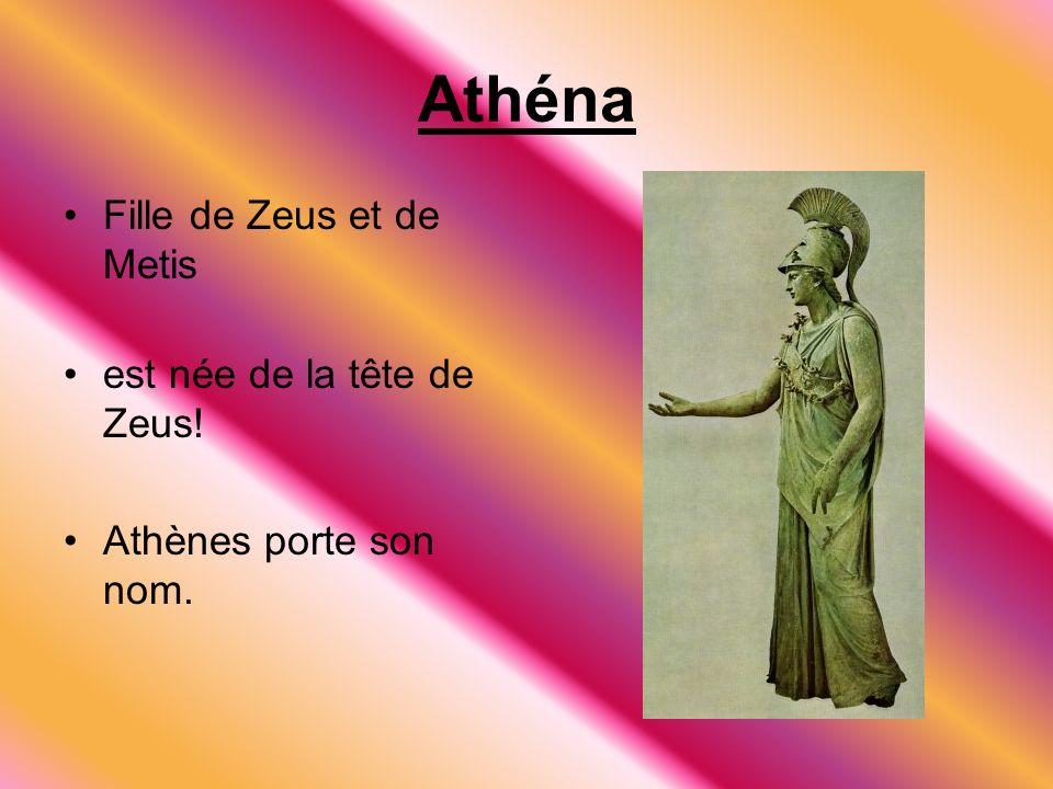 Athéna Fille de Zeus et de Metis est née de la tête de Zeus!