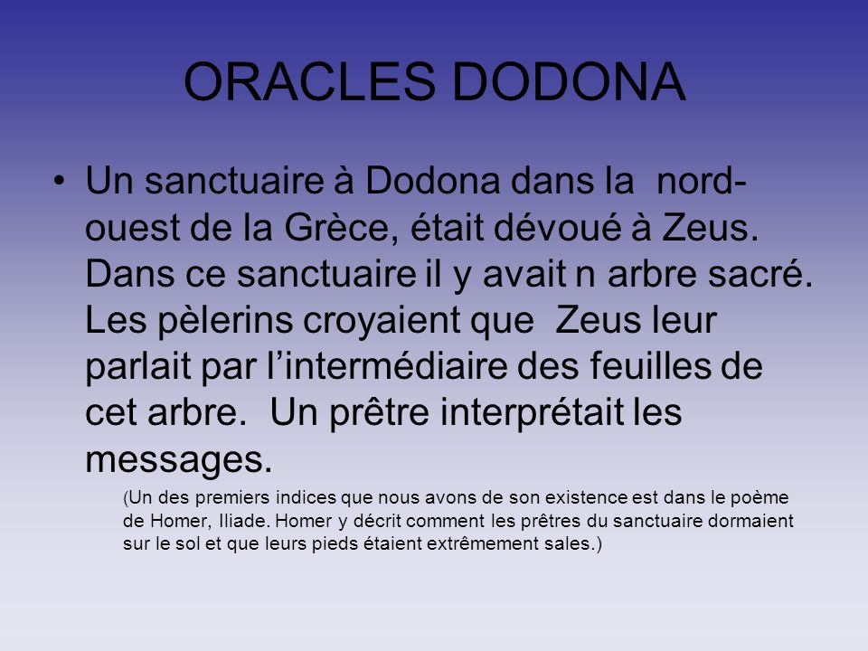 ORACLES DODONA