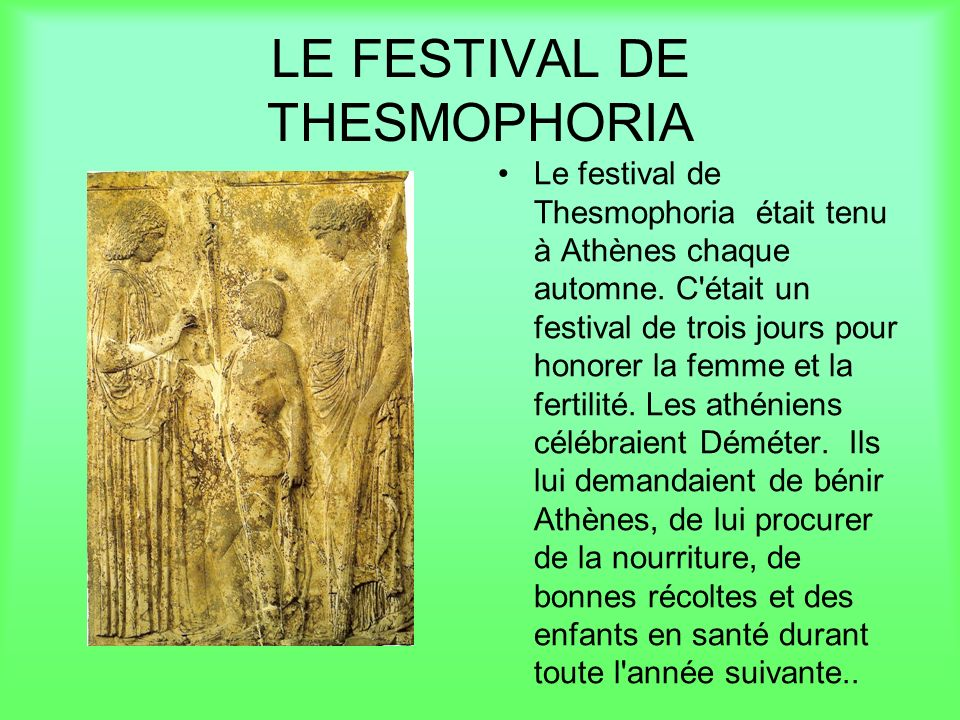 LE FESTIVAL DE THESMOPHORIA