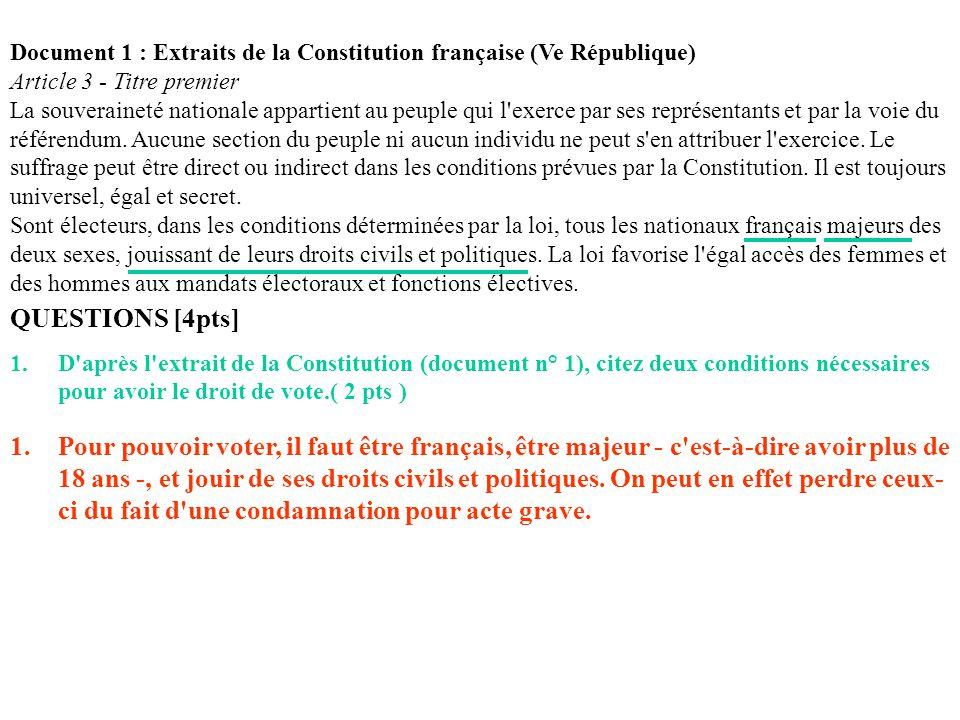 Document 1 : Extraits de la Constitution française (Ve République)