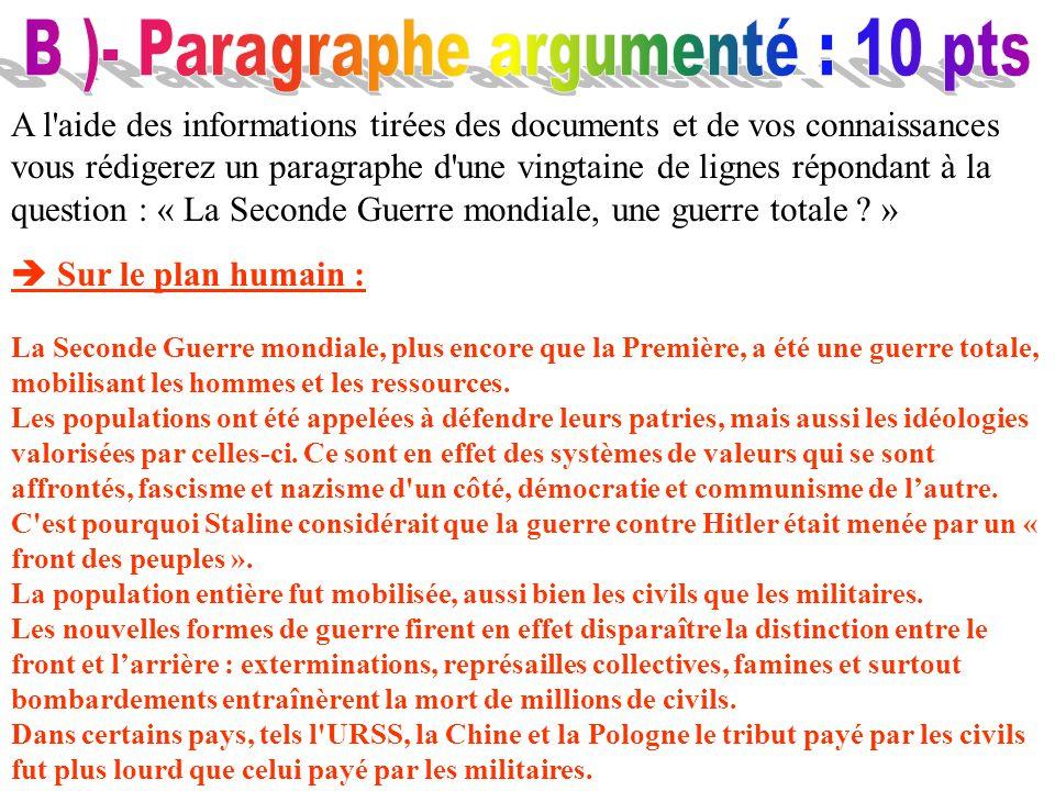 B )- Paragraphe argumenté : 10 pts