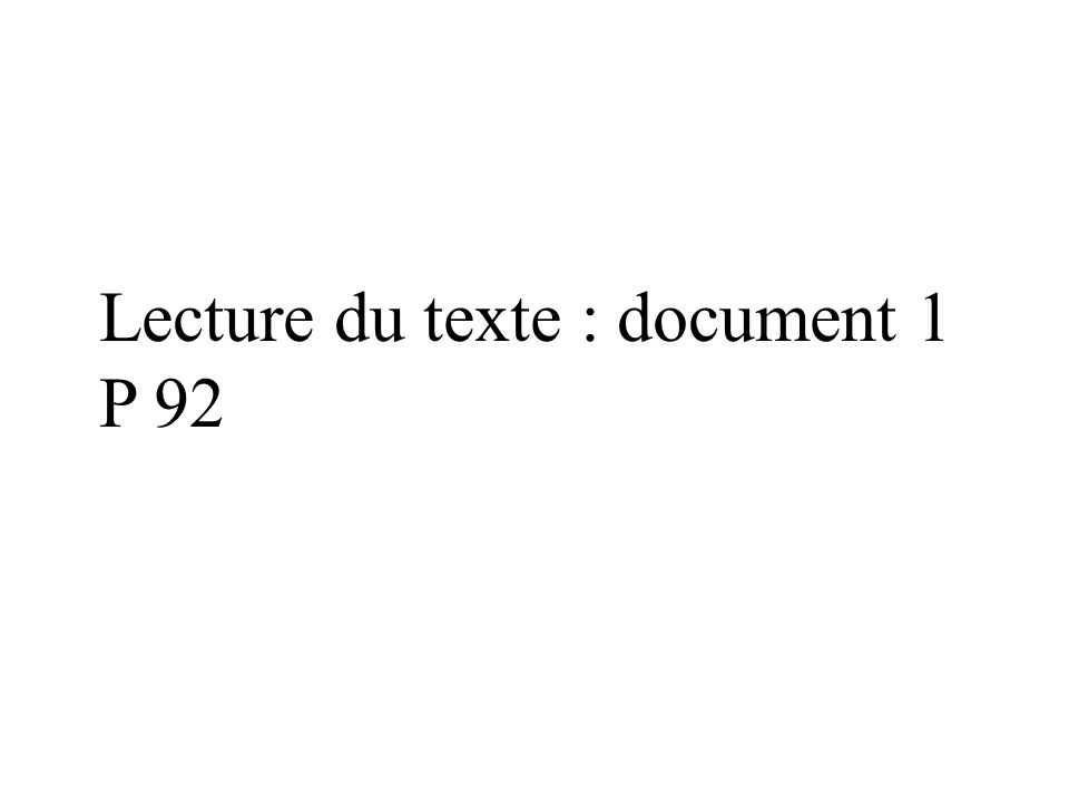 Lecture du texte : document 1