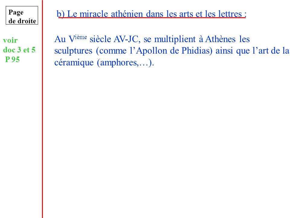 b) Le miracle athénien dans les arts et les lettres :