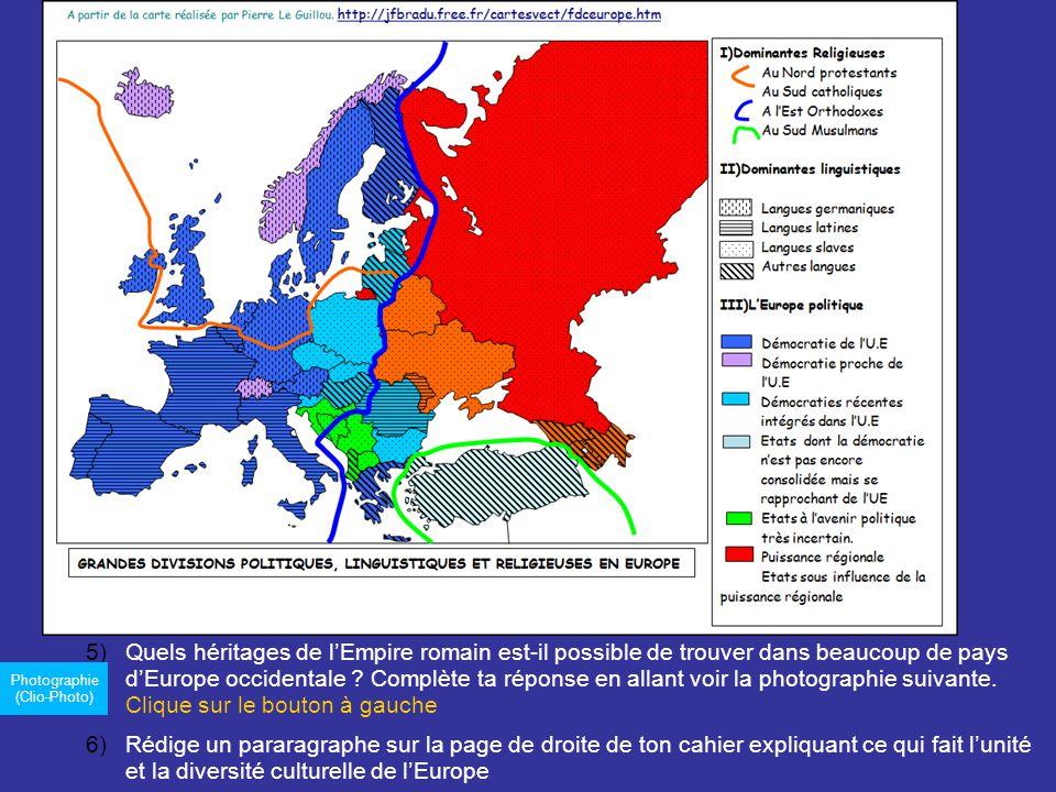 Quels héritages de l'Empire romain est-il possible de trouver dans beaucoup de pays d'Europe occidentale Complète ta réponse en allant voir la photographie suivante. Clique sur le bouton à gauche