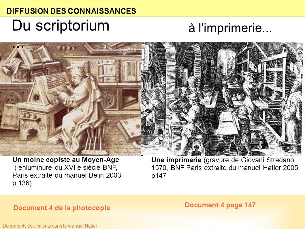 Du scriptorium ... à l imprimerie... DIFFUSION DES CONNAISSANCES
