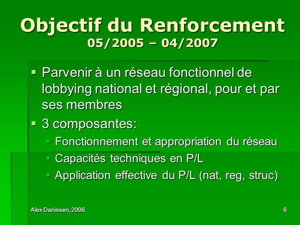 Objectif du Renforcement 05/2005 – 04/2007