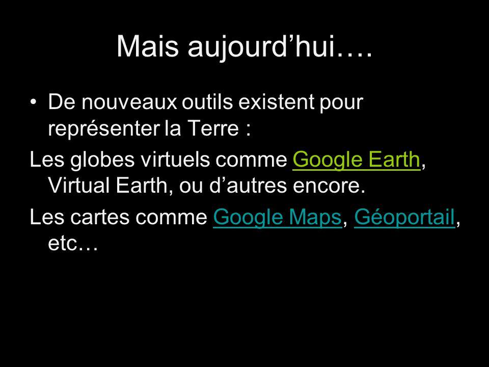 Mais aujourd'hui…. De nouveaux outils existent pour représenter la Terre :