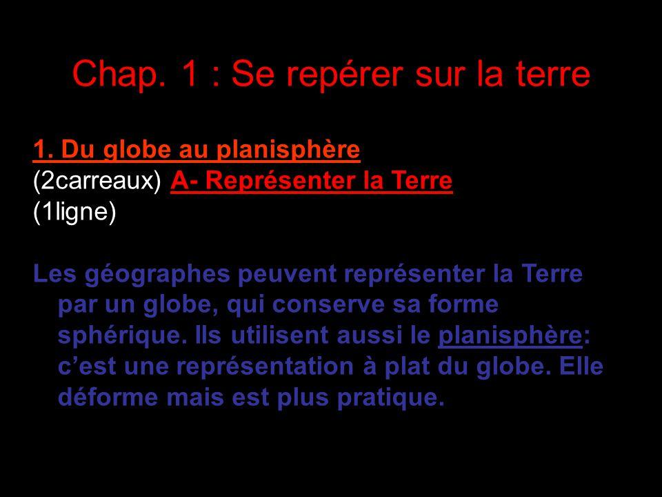 Chap. 1 : Se repérer sur la terre