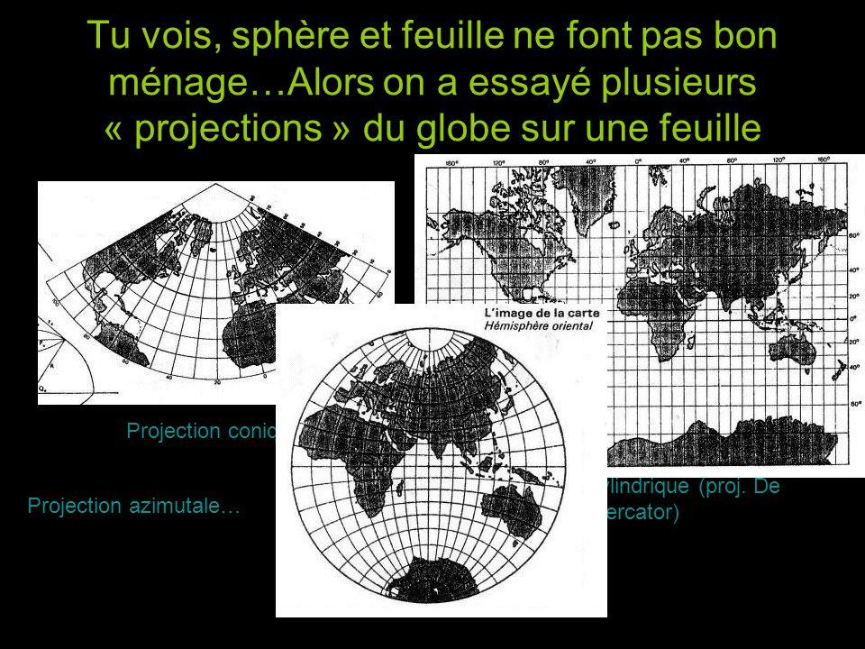 Tu vois, sphère et feuille ne font pas bon ménage…Alors on a essayé plusieurs « projections » du globe sur une feuille