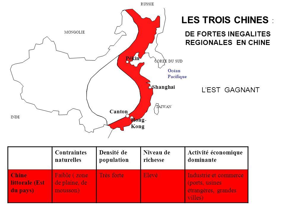 DE FORTES INEGALITES REGIONALES EN CHINE