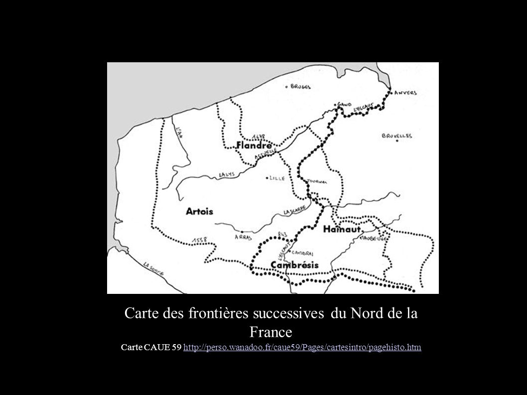 Carte des frontières successives du Nord de la France