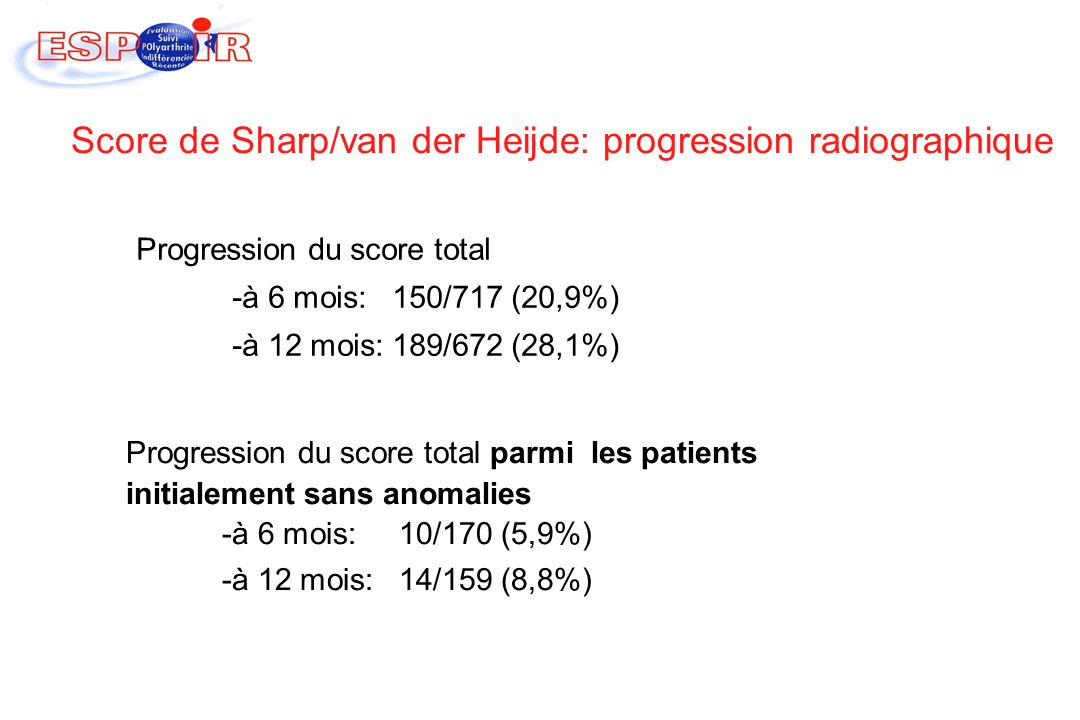 Score de Sharp/van der Heijde: progression radiographique