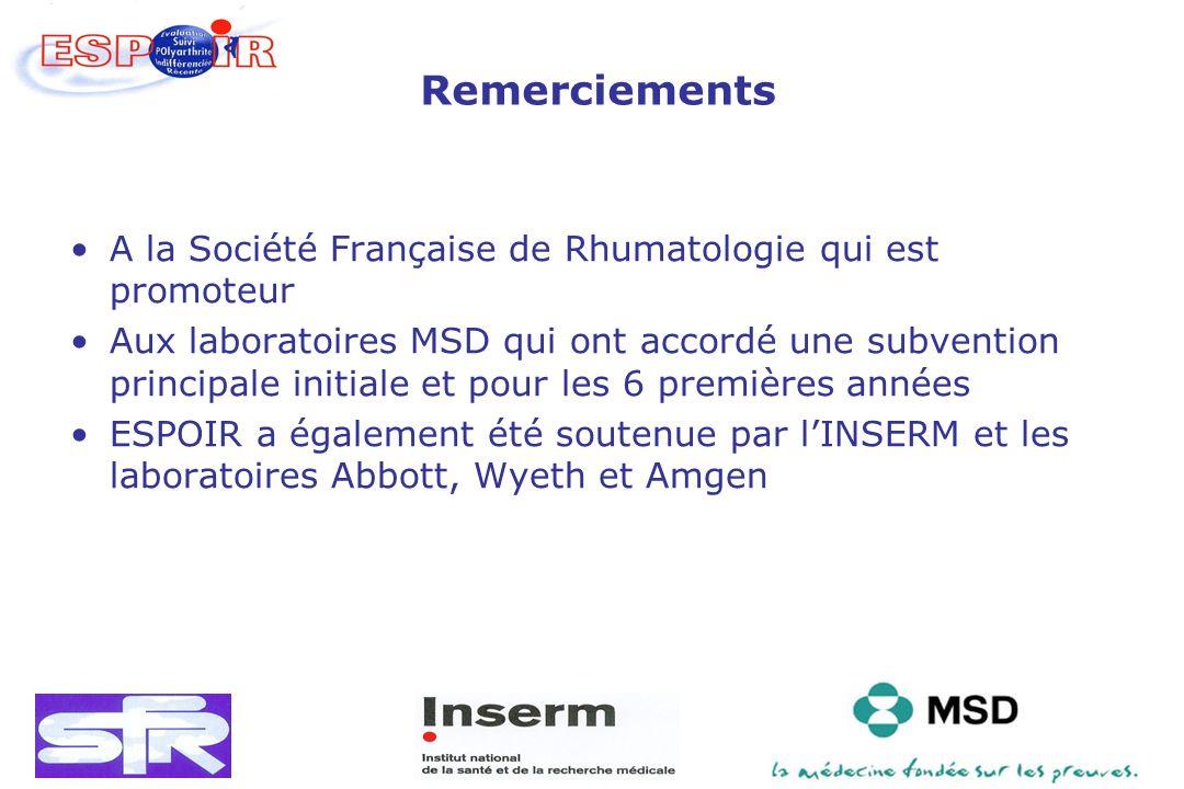 Remerciements A la Société Française de Rhumatologie qui est promoteur