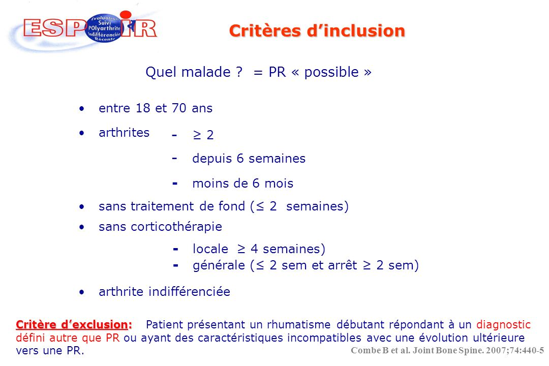 Quel malade = PR « possible »