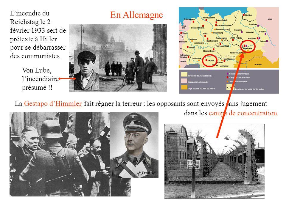 L'incendie du Reichstag le 2 février 1933 sert de prétexte à Hitler pour se débarrasser des communistes.