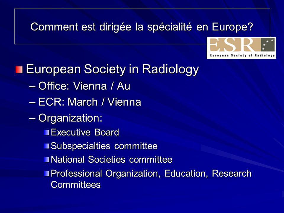 Comment est dirigée la spécialité en Europe