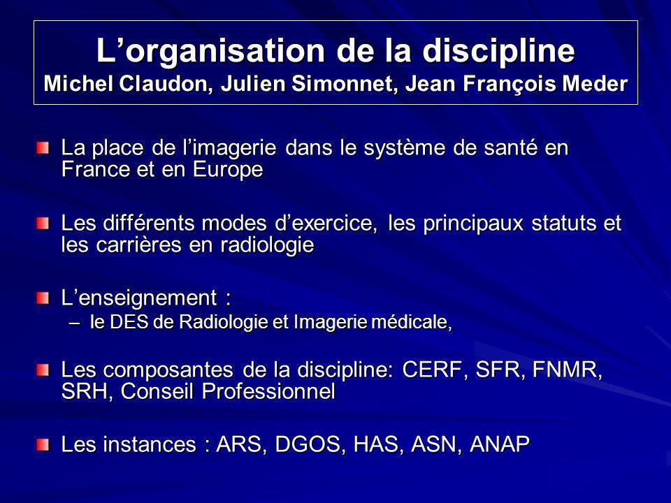 L'organisation de la discipline Michel Claudon, Julien Simonnet, Jean François Meder