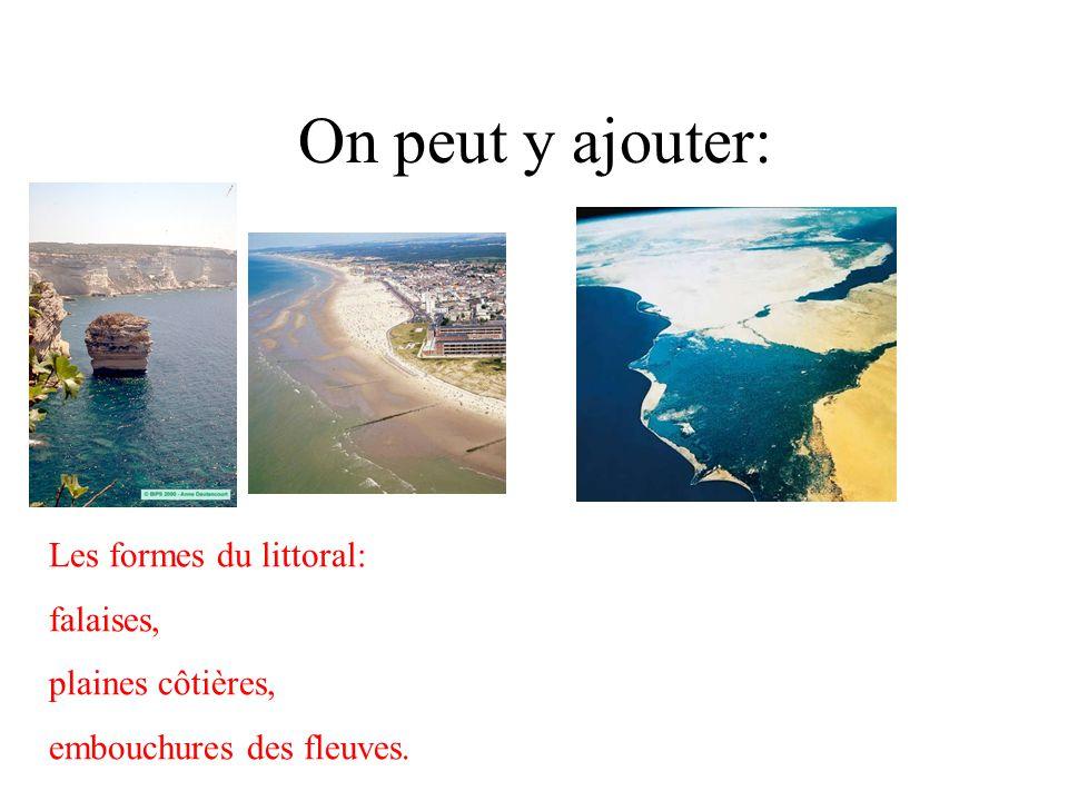 On peut y ajouter: Les formes du littoral: falaises, plaines côtières,