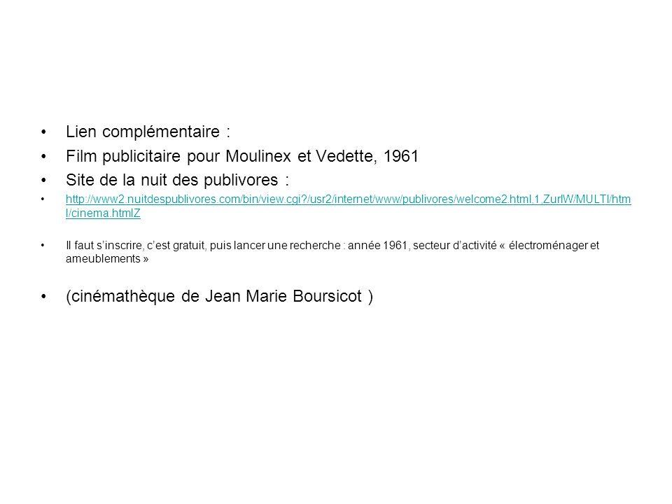 Film publicitaire pour Moulinex et Vedette, 1961