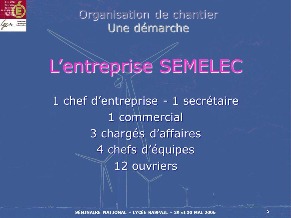 L'entreprise SEMELEC Organisation de chantier Une démarche
