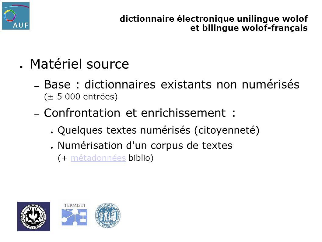 Matériel source Base : dictionnaires existants non numérisés (± 5 000 entrées) Confrontation et enrichissement :