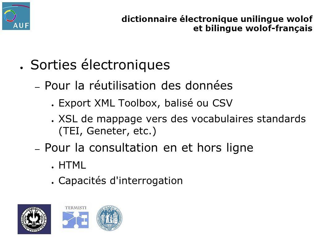 Sorties électroniques