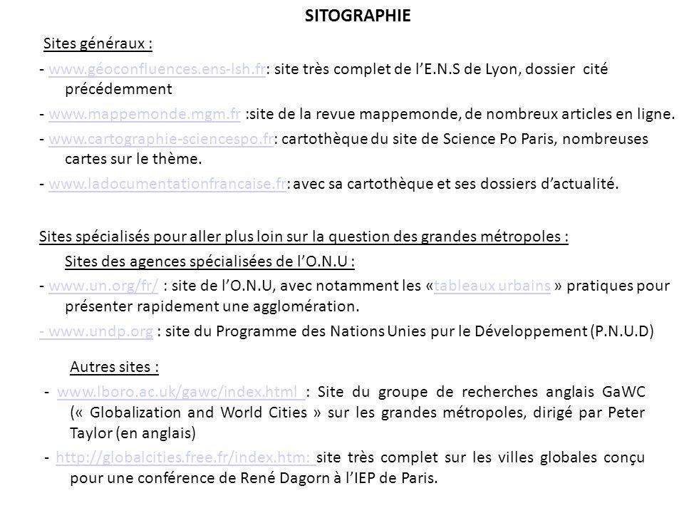 SITOGRAPHIE Sites généraux :