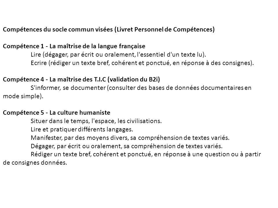 Compétences du socle commun visées (Livret Personnel de Compétences)