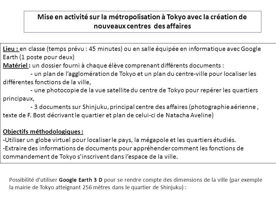 Mise en activité sur la métropolisation à Tokyo avec la création de nouveaux centres des affaires