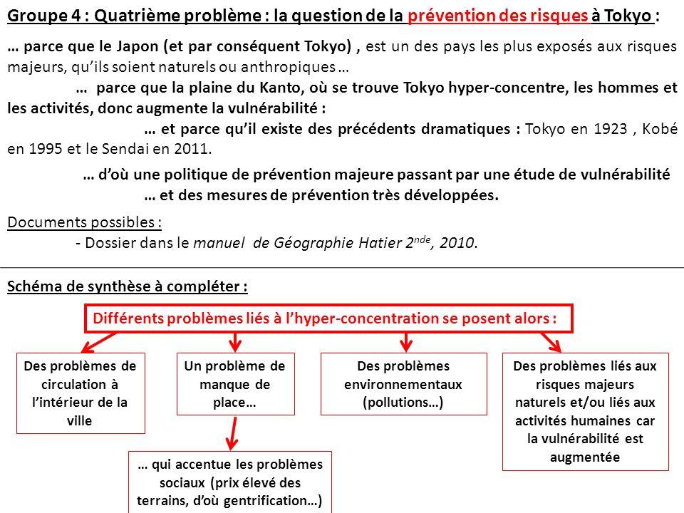 Groupe 4 : Quatrième problème : la question de la prévention des risques à Tokyo :