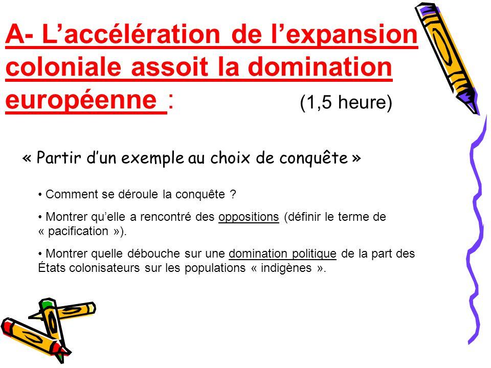 A- L'accélération de l'expansion coloniale assoit la domination européenne : (1,5 heure)