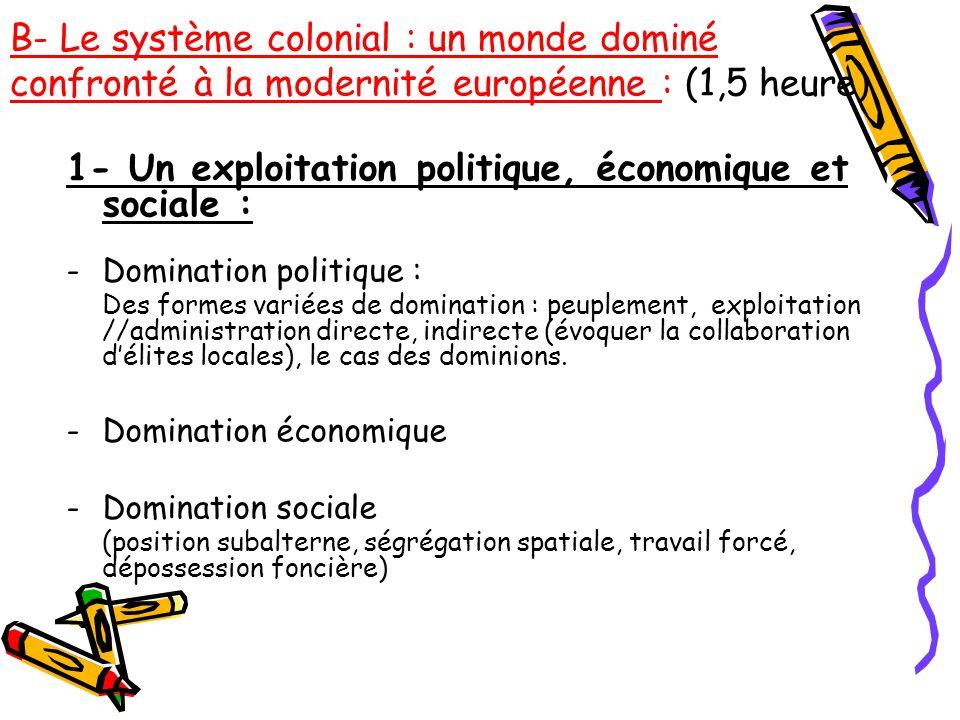 1- Un exploitation politique, économique et sociale :