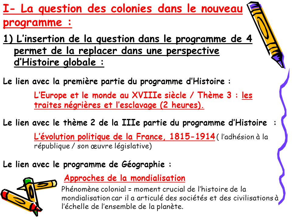 I- La question des colonies dans le nouveau programme :