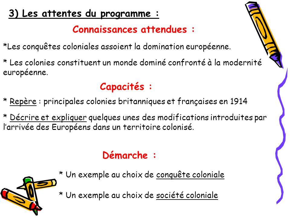3) Les attentes du programme :