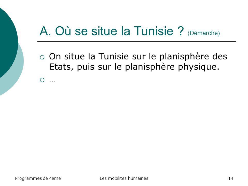 A. Où se situe la Tunisie (Démarche)